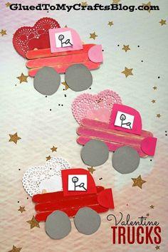 Popsicle Stick Valentine Love Truck – Kids Crafts Idea - Crafts for Kids Valentine's Day Crafts For Kids, Valentine Crafts For Kids, Daycare Crafts, Toddler Crafts, Preschool Crafts, Holiday Crafts, Kids Diy, Spring Crafts, Valentines Crafts For Kindergarten