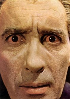 Dracula Has Risen From The Grave - Dracula's Eyes - Christopher Lee. Looks like he got a good look at some of that ole Hammer glamor.