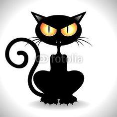 Gatto Nero Arrabbiato Angry Black Cat Clip Art Vector Stock