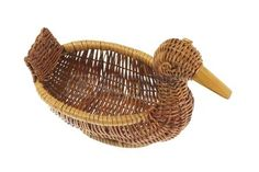 Duck Wicker Basket on White Background Stock Photo