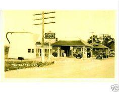 Old Photo Bedford PA Gas Station Tea Pot Atlantic Pumps