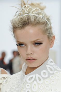 Frida Aasen backstage at Louis Vuitton s/s 12