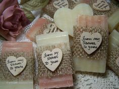 From my shower to yours - Blush soaps, 30 bridal shower favors soaps - mini soaps -  Shea butter, organic,  handmade soap - rustic by CountryChicSoaps on Etsy https://www.etsy.com/listing/192595052/from-my-shower-to-yours-blush-soaps-30