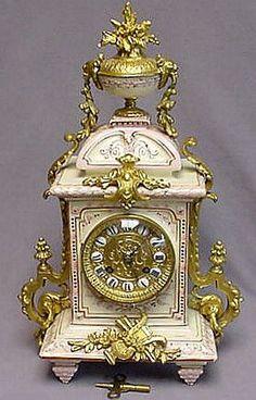 French ~ S. MARTI ~ Mantel Clock Porcelain Case w/ Brass Ormolu ~ c1890+