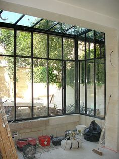 Rehabilitation & historic heritage: Total rehabilitation of a private mansion - Bordeaux - room with bay window - Backyard Greenhouse, Greenhouse Ideas, Glass Room, Marquise, House Extensions, Glass House, Bay Window, Windows And Doors, Home Deco