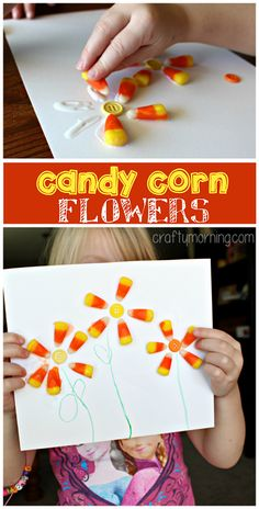 Make Flowers out of Candy Corn (Fall Kids Craft) Preschool Projects, Daycare Crafts, Classroom Crafts, Craft Activities For Kids, Toddler Crafts, Preschool Crafts, Fall Preschool, Craft Ideas, Fall Crafts For Kids