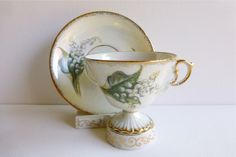 (SOLD) Vintage Enesco Lusterware Footed Teacup & Saucer, Lily of the Valley, Made…