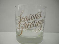 Christmas Cocktail Glasses Barware Gold Embossed Seasons Greetings   Set of 4