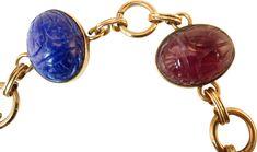Art Glass Scarab Bracelet - Bracelets - Jewelry - Gifts & Accessories - Decor & Entertaining One Kings Lane Traditional Living Room Furniture, Scarab Bracelet, Kings Lane, 1930s, Jewelry Gifts, Glass Art, Cufflinks, Entertaining, Bracelets