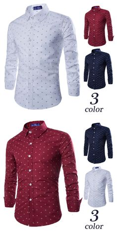 c3db03cc9b5 Fashion Brand Men Shirt Anchor Printing Business Shirts Tooling Long-Sleeves  Tops Men s Summer Casual