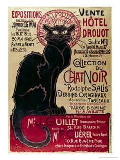 Werbeposter und Ausstellung der Sammlung des Chat Noir Cabarets im Hotel Drouot, Paris, Französisch Giclée-Druck von Théophile Alexandre