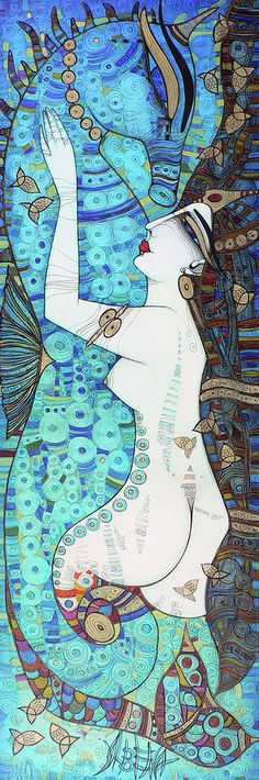 Confessions In Blue Painting by Albena - Confessions In Blue Fine Art Prints and Posters for Sale