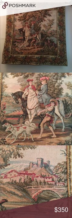 French tapestry. Wall hanging. Vintage Reproduction of a medieval French tapestry representing two lovers in a hunt scene. Made in France, cca 1990. Big size. Please ask if you are interested to buy and need the exact dimensions or more pics. Excellent like new condition. Open to offers. Other