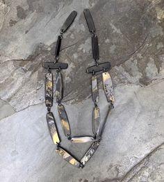 Slab black gold metallic tone necklace. Polymer clay by Linda Brooks
