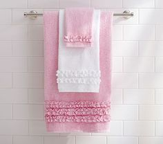 Ruffle Bath Towels #PotteryBarnKids  I ordered these-ended up returning them.  Looks better in the picture.  I didn't like the actual pink color.