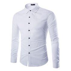 Men Shirt Long Sleeve Fashion Business Design Slim Fit Dress Shirts Casual