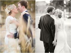 Aislinn Kate Photography | bride and groom | wedding dress | black and white | kisses | just married
