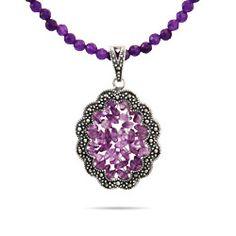Sterling Silver Jewelry - Vintage Style Genuine Amethyst Beaded Marcasite Pendant
