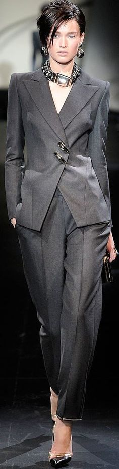 Modern Gray Pantsuit.  Armani Prive Haute Couture