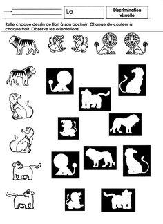Relier les dessins d'animaux au pochoir correspondant, en faisant attention à leurs directions (vers la droite ou la gauche) Changer de couleur à chaque trait.  - discrim lions GS.docx  - discrim lions GS.pdf