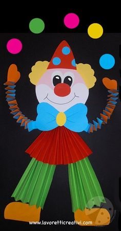 Ideas to create Carnival decorations Juggler clown Clown Crafts, Circus Crafts, Carnival Crafts, Carnival Decorations, School Decorations, Paper Crafts For Kids, Preschool Activities, Projects For Kids, Diy And Crafts