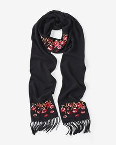 Floral Embroidered Skinny Scarf