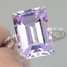 Beautiful Vintage 6.2CT Emerald Cut Pink Purple Kunzite Promise Engagement Wedding Anniversary Ring Size 7