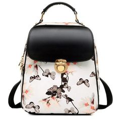 """Size:Height:31CM(12.20"""");Width:25CM(9.84""""); Thickness:11CM(4.33"""");(Notice:1-3CM Mistake Is Allowed)    There is a black version with pink flowers . Color:Black/White    Internal Structure:Cell Phone Pocket/Zip Pocket/Document Pocket    Material:PU    Style:Fresh    Capacity:Can Hold Ipad    Fashion Element:Butterfly/Flower"""
