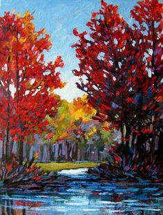 Pond in Autumn Commissioned painting by Patty Baker by pattyabaker