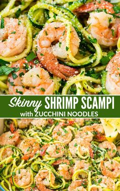 Skinny Shrimp Scampi with Zucchini Noodles. Easy, low carb version of the classic pasta dish that can be made without wine. via Skinny Shrimp Scampi with Zucchini Noodles. Easy, low carb version of the classic pasta dish that can be made without wine. Zucchini Noodle Recipes, Zoodle Recipes, Shrimp With Zucchini Noodles, Zuchinni Noodles, Shrimp Noodles, Healthy Shrimp Scampi, Shrimp Scampi Zoodles, Shrimp Scampi Recipes, Scampi Sauce