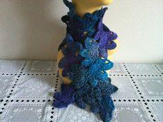 Womens Crochet Flower SCARF Blue Scarf Hand by zahraknitting, $19.90
