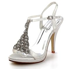 Satin Stiletto Heel Sandals Honeymoon / Wedding Shoes With Rhinestone (More Colors) - USD $ 64.39