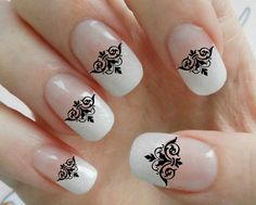 Nail Art Decals 90 BLACK LACE DEMASK Waterslide Wiccan Gothic SteamPunk Nail Tips Manicure Nail Stickers