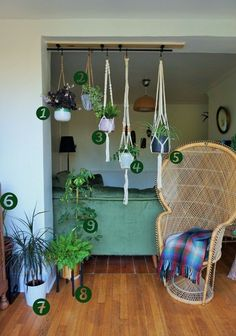 bohemian hanging planters for house plants garden room greenery An ikea hack to hang your houseplants from the ceiling. A bohemian living room with lots of greenery and plants. A room divider of plants Hanging Plants Outdoor, Indoor Plant Wall, Hanging Planters, Indoor Plants, Ikea Plants, Patio Plants, Indoor Gardening, Room With Plants, House Plants Decor