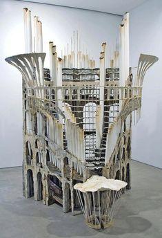 Diana Al-Hadid: All the Stops, 2007 Wood, fiberglass, metal, plaster, cardboard, paint 172.7 x 142.2 x 264.2 cm CourtesyoftheartistandMarianne Boesky Gallery