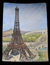 Vintage 30s Art Deco PARIS Scene HUGE French Watercolor Eiffel Tower River Montmartre Signed and found on Ruby Lane