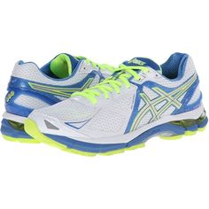 ASICS GT-2000 3 (White/Lightning/Powder Blue) Women's Running Shoes ($90) ❤ liked on Polyvore featuring shoes, athletic shoes, grey, asics athletic shoes, athletic running shoes, gray running shoes, structure shoes and white platform shoes