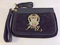 Vintage Juicy Couture Brown Flanel & Black Leather Wristlet Embelished Purse #JuicyCouture #Wristlet