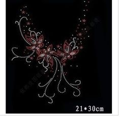 Free fee 21*30cm shinny collar Rhinestone Iron on heat Transfer Hot fix Motif crystal rhinestone transfer in sewing fabric