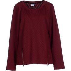 Vero Moda Sweatshirt ($62) ❤ liked on Polyvore featuring tops, hoodies, sweatshirts, maroon, maroon sweatshirt, red top, long sleeve sweatshirt, quilted top and long sleeve tops