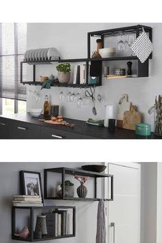 Kitchen Utensils List, Kitchen Shelves, Küchen Design, Store Design, Spice Storage, Modern Shelving, Interior Decorating, Interior Design, Metal Furniture