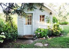 So sweet! perfect potting shed/studio/shed! A Country Farmhouse: Farmhouse Renovation Cozy Cottage, Cottage Style, White Cottage, Farmhouse Renovation, She Sheds, Cabins And Cottages, Country Farmhouse, Farmhouse Garden, Farmhouse Landscaping