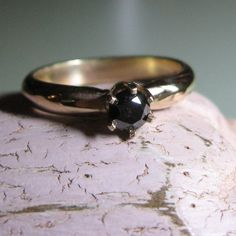 14k gold and Black Diamond custom engagement Ring - Indie Bride