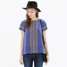 Madewell - Silk Tailored Tee in Ascot Grid