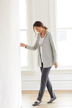 Pure Jill hooded swing jacket (in grey heather).