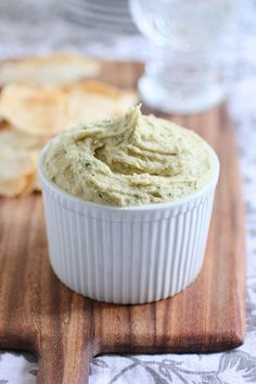 cannellini dip and parmigiano pita chips