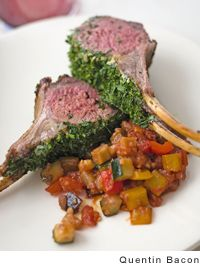 Roasted rack of lamb with parsley, Dijon, and chives from Leite's Culinaria by Curtis Stone