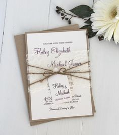 rustic wedding invitation, vintage wedding, wedding invitation, lace wedding invitation, elegant wedding