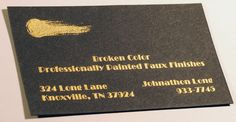 Engraved business card. Gold ink engraved printed on black linen paper. Designed and printed by Larry B. Newman Printing Company.