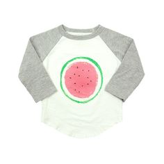 Ball Tee with Watermelon Print - mini mioche - organic infant clothing and kids clothes - made in Canada Little Fashion, Kids Fashion, Fashion Outfits, Cute Babies, Baby Kids, Baby Prints, Kid Styles, Watermelon, Graphic Sweatshirt